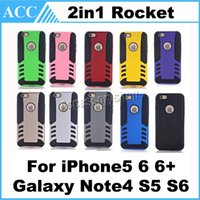 Wholesale Rocket Shells - Hybrid Rocket Case TPU + PC Two-Layer Defender Rugged Cover For iPhone 5 5S iPhone6 Plus Galaxy Note4 S5 S6 Phone Back Shell 500pcs