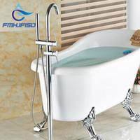 Wholesale Floor Mount Tub Filler Chrome - Wholesale And Retail Polished Chrome Brass Bathroom Tub Faucet Floor Mounted Tub Filler W  Hand Shower Swivel Spout Shower
