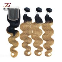 Wholesale Colored Hair Wholesale - Ombre Human Hair Body Wave T1b 27 Dark Root Honey Blonde Extensions 3 Bundles with Lace Closure Colored Brazilian Hair Free Part Closure