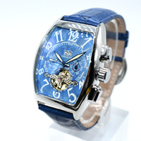 Wholesale Elegant Automatic Watch - Geneve luxury tourbillon skeleton men replica famous AAA brand automatic mechanical watch elegant fashion leather belt gift men dress watch