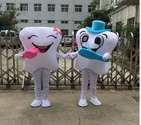Wholesale Tooth Mascot Costumes - 2016 new High quality teeth and toothbrush Mascot Costumes adult size free shipping