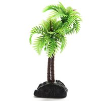 2Pcs Plastique Coconut Tree Aquarium Plantes décoration ornement Tank G01271 poisson