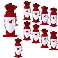 sacs pour bouteilles de vin achat en gros de-Vin rouge Bouteille Couverture Sacs Dîner de Noël Décoration de Table Accueil Party Decors Père Noël Fournisseur Livraison gratuite