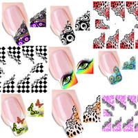 Wholesale 2d Nails - 50Sheets Water Transfer Nail Art Stickers Manicure Water Decal French Style Nail Tip Wraps DIY Nail Decoration Tool #XF1299-1331