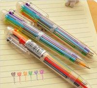 multicolor pen groihandel-Neue Ankunft Neuheit Multicolor Kugelschreiber Multifunktions 6 In1 Bunte Schreibwaren Kreative Schulbedarf G1189