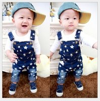 Wholesale Baby Boy Suspender Trousers - Kids Boys Autumn Suspender Pants 2015 New Hot Sale Childrens Stars Printed Cowboy Jeans Suspender Trousers Baby Boys Clothing Retail 2-7Year