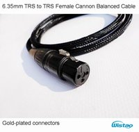 Wholesale Ofc Audio Cable - 6.35mm TRS to XLR HIFI Audio IWISTAO TRS Female Cannon Balanced Cable Gold-plated Contacts Choseal 4N OFC Cable Black Free Shipping