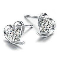 Wholesale Crystal Diamante - 925 sterling silver items crystal jewelry vintage stud earrings wedding charms clear diamante heart shaped new