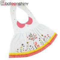 Wholesale Dress Bibs - Wholesale- Dress Style Cartoon Printed Long Sleeve Baby Bibs Girls Infant Baberos Saliva Babador Waterproof Apron Clothing BalleenShiny
