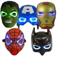Wholesale avengers masquerade masks resale online - NEW Children s LED Light The Avengers Justice League Anime Hero Masquerade Party Halloween full face mask