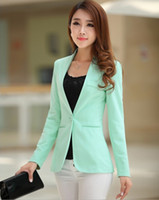 Wholesale Candy Colored Blazers - Womens Coats 2015 Spring Fall New Candy-Colored Shrug Slim Small Suit Female Bright Jacket A Buckle Women Short Suit Coat
