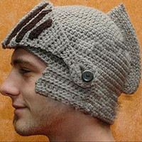 Wholesale Roman Winter Hat - Fashion Keep Warm Men Unisex Roman Knight Helmet Caps Cool Handmade Knit Ski Hat Winter Hats Gorro Funny Party Ski Mask Beanies