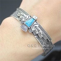 Wholesale Antique Aztec - Antique Aztec Carve Eagle Turquoise Navajo Bracelet Bangle Cuff Native American Jewelry Free Shipping