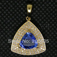 Atacado-Fantastic Vintage Trillion 8x8mm 18kt Yellow Gold Diamante Tanzanite Pendant RL0084