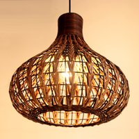 Wholesale Handmade Ceiling Lights - Southeast Asia Rattan Garlic Dining Room Ceiling Pendant Light Rattan Woven Pendant Lamp Handmade Study Room Restaurant Pendant Chandeliers