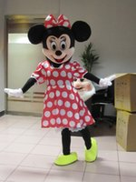 Wholesale Minnie Mouse Mascot Costumes - Hot Sale! Red Minnie Mouse mascot costume, Adult Size Fancy Dress Holloween Costume,EPE Head + Free shipping
