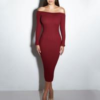 kış için maxi elbiseler toptan satış-Seksi Kulübü Elbise 2018 Kadın Kış Parti Elbiseler Kapalı Omuz Örgü Kazak Bodycon Uzun Maxi Elbise Vestidos