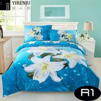 Wholesale quilt bedcover - Wholesale-bedding set 4pcs king queen size white lily 3d flowers cotton bedsheet blue duvet quilt bed linen covers Bedclothes bedcover