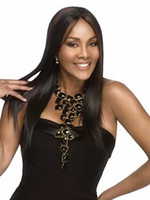 Wholesale Wigs Modern - Modern flowing straight wigs with long black hair for women