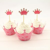 Wholesale Crown Cupcake Wrappers - Free Shipping 24pcs Pink Princess Crown cupcake wrapper topper birthday party favors 4 kids, cup cake toppers picks baby shower supplies