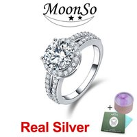 Wholesale Crystals Diamond Stones - MOONSO 925 Sterling Silver Wedding Rings Two Gifts CZ Diamond for Women Engagement Wholesale Jewelry Forlove Real Pure 100% Genuine ZR211AS