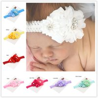 Wholesale christening baby gifts - 5pcs Hair flower baby headband baby hair bows baby headbands baptism headband Christening Gifts Cute Baby headwear Hair Accessories