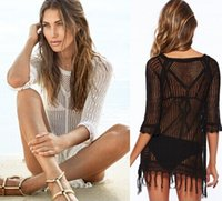 2015 Nuovo Donne Beach coprire Swimwear sexy con nappe Summer Beach Crochet Hollow Out Beach Abiti Donne Beach Wear LX