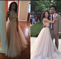 Wholesale Eveing Dress Ruffles - New Two 2 Pieces Long Beaded Prom Dresses 2016 A-Line Hollow Floor Length High Neck Custom Made Formal Party Eveing Gowns For Women