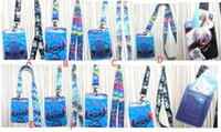 Wholesale Buses Steels - Cartoon 12 pcs stitch Lanyard Key Chains Card Holders Bank Card Neck Strap Card Bus ID Holders RR-10