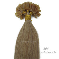 "Wholesale ash blonde human hair extensions - Brazilian Hair 7A Straight Style Brazilian Indian Peruvian Malaysian U-tip Remy Human Hair 15""-26"" 100s 16# Ash Blonde, Nail-hair extensions"