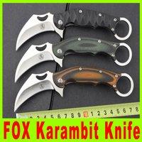 Wholesale New Fox Pocket Knife - 201501 New FOX Renzheshen Karahawk KARAMBIT Scorpion Claw Fixed blade knife tactical pocket knife knives outdoor gear knife 880X