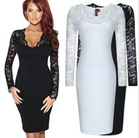 Wholesale Cocktail Dresses For Casual Party - Women Casual Luxury Dresses Fashion Long Sleeve Sexy Lace Work Wear Evening Slim Party Cocktail Dresses Bandage Bodycon Dress For Ladies