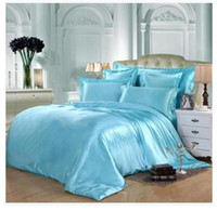 Wholesale Fitted Bedspreads Twin - Aqua Silk bedding set green blue satin super king size queen full twin fitted bed sheets quilt duvet cover double bedspread 5pcs