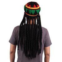 Wholesale Mens Cosplay - Novelty Adult Mens Jamaican Rasta Hat Funny Knitted Beanies Wig Bob Marley Caribbean Reggae Braids Cosplay Caps Gifts