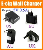 Wholesale Ego Wall Charger Adapter - USB Wall Charger US EU UK AU Plug AC Power EGO usb charger 5v 500ma Adapter ego wall charger for Electronic Cigarette ego Batteries FJ006