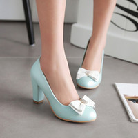 Wholesale asakuchi shoes for sale - Group buy In the spring of new Korean sweet bowknot round high heeled shoes Asakuchi shoes with thick all match fashion