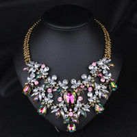 Wholesale Chunky Flower Necklaces - Wholesale-Colorful Crystal Necklace Fashion Statement Necklace&Choker Necklace Wholesale,High Quality Flowers Necklace Chunky Jewelry