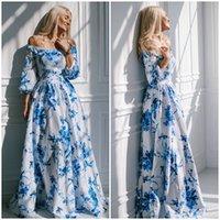 Wholesale Lace Maxi Dress Sale - 2015 new fashion print lace maxi women dress A-line slash neck chiffon white Casual summer dress Hot sale FG1511