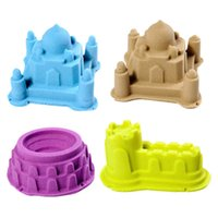 Wholesale cartoons clay toys - 6Pcs Set Portable Castle Sand Clay Novelty Beach Toys Model Clay For Moving Magic Sand