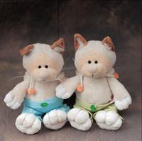 Wholesale Tanuki Doll - Wholesale-Free shipping 35cm cute nici couple Tanuki cat plush toy stuffed cute animal soft doll girls birthday best gift