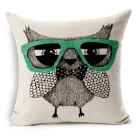 Wholesale Owl Linen Cushion - Little Owl Bird Wearing Glasses Cushion Cover Hand Painting Flowers Birds Owls Pillow Covers Decorative Sofa Linen Cotton Pillow Case
