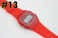 Wholesale Square Silicone Digital Watch - Silicone Led Watch alarm clock F-91W watches Men Women Child F-91W Sport watches luxury F91 thin multicolour LED Jelly watch Free ship