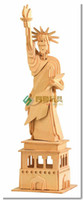 Wholesale Miniature Diy Assemble Toys - Wholesale-Educational toys Statue of liberty wooden model 3d assembling model of Miniature DIY