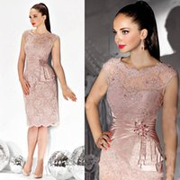 Wholesale T Shirt Straps Suits - Mother of the Bride Dresses 2017 Sheer Neck Cap SLeeves Beads Appliques Knee Length Mother Dress Suit Evening Dress