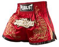 maiô homens venda por atacado-Produtos de qualidade-PUGILIST Tiger MMA curto HÍBRIDO KICKBOXING MUAY TAILANDÊS SHORTS DE COMBATE LUVAS Muay Thai Boxe-Red