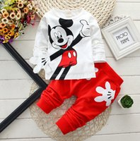 Wholesale Suits Minnie - Fashion baby Cartoon clothing Suits Girls boys Minnie Mouse clothes baby 100% cotton shirts+pants 2pcs Children Clothing Set