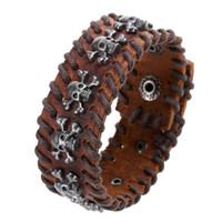 Wholesale Metal Woven Bracelet - 2015 Fashion Men Charms Bracelets Retro Handmade Double row Weave Metal Skull Decorative Snap Button Design Leather bracelets Punk Bracelet