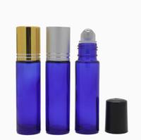 botellas de vidrio de ámbar de aromaterapia al por mayor-10ml rollo vacío en botellas de vidrio ámbar [ACERO rodillo de acero] recargable ámbar Roll On para aromaterapia, fragancia Essentia