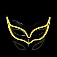 Wholesale Masquerade Mask Decor - LED Light Luminous Fox Masks For Halloween Ghost Half Face EL Wire Mask Palstic For Masquerade Decor Popular 18yh B