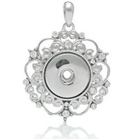 Wholesale Silver Diy Charms For Necklaces - NOOSA silver hollow out rhinestone pendant for necklaces DIY noosa ginger snap interchangeable snap jewelry accessories wholesale hot